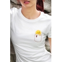 Womens Trendy Cute Sun Pattern Crew Neck Short Sleeve Slim Fit T-Shirt