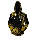 Popular Fashion Letter HUFFLEPUFF Animal 3D Printed Black and Yellow Long Sleeve Zip Up Hoodie
