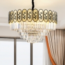 Brass Multi-Tier Chandelier Retro Crystal and Metal Chandelier Light with Tree Pattern for Bedroom