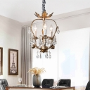 3-Light Candle Small Chandelier Traditional Metal Hanging Lamps with Crystal in Rust for Bedroom