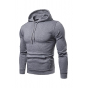 Solid Color Long Sleeve Kangaroo Pocket Fitted Daily Wear Hoodie