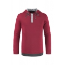 Mens Simple Colorblocked False Two Pieces Henley Drawstring Hoodie