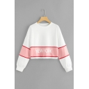 Simple Letter NEW YORK Contrast Panel Long Sleeve Hoody Sweatshirt for Women