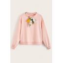 Women Fashion Bow-Tie Round Neck Long Sleeve Pink Pullover Sweatshirt