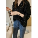 Polka Dot Printed Notched Lapel Long Sleeve Single Breasted Chiffon Shirt
