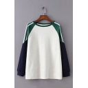 Color Contrast Stripe Splicing Long Sleeve Round Neck Oversized Sweatshirt for Women