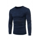 Fashion Embossed Plain Long Sleeve Casual Pullover Sweatshirt