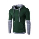 Fashionable Mens Fake Two Piece Panel Long  Sleeve Drawstring Hoodie