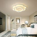 Contemporary Floral Flush Ceiling Light Acrylic Bedroom Led Flush Mount Lamp in White