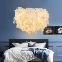 Fabric Leaf Pendant Lamp Modern Rustic 19.5