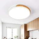Ceiling Light Flush Mount Modern Wood and Iron Flush Mount Light Fixture in White/Gold for Indoor