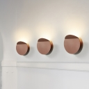 Disc Wall Lamp with Fold Design Nordic Style Metal Wall Mount Lighting in Warm with Black/Bronze/Gold/Grey/White Shade