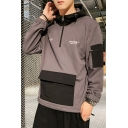 Mens Hot Trendy Colorblock Letter FIKT COST Printed Long Sleeve Half-Zip Casual Sports Pullover Hoodie with Pocket