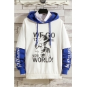 Men's New Arrival Letter NEW WORLD Figure Print Long Sleeve Fake Two-Piece Drawstring Hoodie