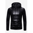 Cool Fashion Solid Color Black PU Leather Slim Fit Long Sleeve Drawstring Pullover Hoodie for Men