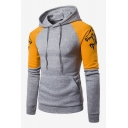 Men's New Trendy Wolf Print Colorblock Patch Long Sleeve Drawstring Pullover Hoodie