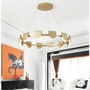 Aluminum Round Chandelier Lamp Modern Multi Light Led Hanging Pendant Light in Black/Gold