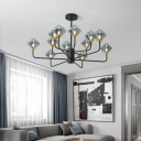 2 Tiers Chandelier Light with Gem Smoke Glass Shade Multi Light Nordic Pendant Light