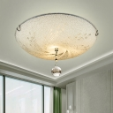 Round Frosted Glass Flush Mount Lighting Modern Crystal Unique Flush Ceiling Lights for Bedroom