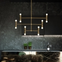 12 Lights 3 Tiers Chandelier Lighting Minimalist Metal Indoor Hanging Pendant Light in Black/Gold