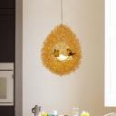 Modern Hanging Nest Pendant Light with Bird Metal 5 Lights Gold Ceiling Chandelier Lamp for Restaurant