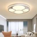 Led Circular Flush Mount Ceiling Light Contemporary Metal Flush Light with Frosted Diffuser