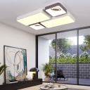 Modern White LED Flush Mount Light with Rectangle and Square Shade Acrylic Ceiling Lamp for Living Room