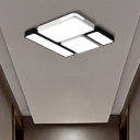 Simple Rectangle Ceiling Mount Light Acrylic Slim LED Ceiling Lamp in Black and White/White for Study Room