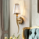 Clear Tapered Shade Wall Light with Gold Backplate 1 Light Crystal Sconce Light for Restaurant