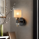 Contemporary Drum Wall Light 1 Light Frosted Glass and Clear Glass Sconce Lamp in Black for Hallway