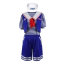 Halloween Costume AHOY Printed Stripes Patchwork Navy Collar Short Sleeve Three-Piece Blue Sport Set