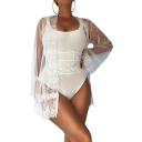 Womens Sheer Lace Crochet Hem Long Sleeve Sexy Four Pieces Bikini Set Swimwear