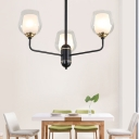 Radial Chandelier Lamp with Bell Clear Glass Shade Contemporary Pendant Lighting in Brass