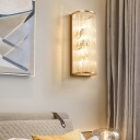 Luxurious Gold Wall Sconce Light Tube Shade Metal and Crystal Sconce Light for Bedroom Hallway