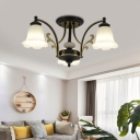White Glass Flower Semi Flush Lamp Traditional 3/6/8/10 Lights Semi Flush Mount Ceiling Light in Black