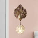 Clear Crystal Orb Wall Lamp with Resin Peacock 1 Light Gold/Pink/White Wall Mounted Light for Bedside