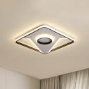 Square Flush Mount Lamp Modern Metallic 16