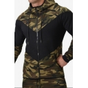 Men's New Arrival Camouflage Patch Print Long Sleeve Loose Running Drawstring Hoodie Jacket