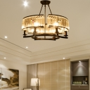 Clear Crystal Round Pendant Lighting Modern 6/8/10 Lights Black/Gold Hanging Chandelier Lamp