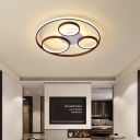 Brown Multi Ring Flush Light Fixture Minimalist Metal Led Flush Mount Ceiling Light in Warm/White, 16.5