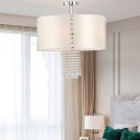 Modern Drum Chandelier with Crystal Accents White Fabric Shade 5 Lights Suspension Lamp in Chrome Finish