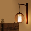 Wooden Globe Wall Light Fixture Asian Style 1 Head Indoor Suspender Wall Light for Restaurant