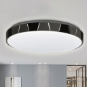 Metallic Circular Ceiling Flush Light with White Acrylic Shade Led Modern Flushmount Light in White/Neutral/Warm