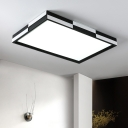 Minimalist Square/Rectangle Flush Light Black and White Metallic 1 Light 16
