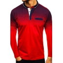 Autumn Fashion Gradient Color Long Sleeve False Pocket Polo Shirt