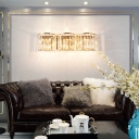 Half-Cylinder Sconce Wall Light with Clear Crystal Modern Multi Light Metal Wall Mount Lamp in Gold