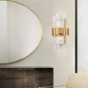 Textured Glass Half-Cylinder Wall Mount Light Modernist 2 Bulbs Wall Lamp in Clear for Bedroom