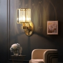 Crystal Prism Cylindrical Wall Mount Lamp Modern 1/2 Head Living Room Wall Light in Brass