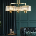 Clear Crystal Drum Chandelier Lighting 3/6/9 Lights Contemporary Suspension Light in Gold