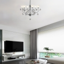 Opal Glass Inverted Chandelier Lighting with Crystal Ball 6 Lights Hanging Pendant Light in Polished Chrome